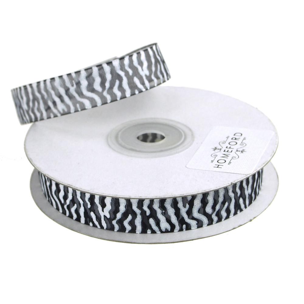 Zebra Print Sheer Organza Ribbon, 25 Yards