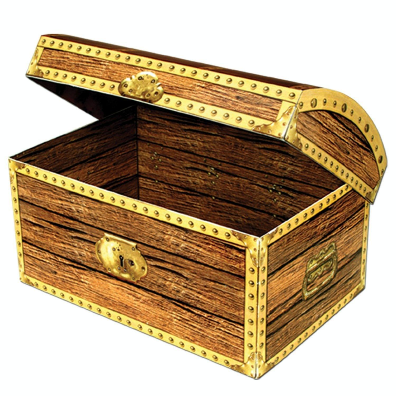 """Pack of 6 Large Brown Pirate Birthday Party 3-D Treasure Chest Box Decorations 11.75"""""""