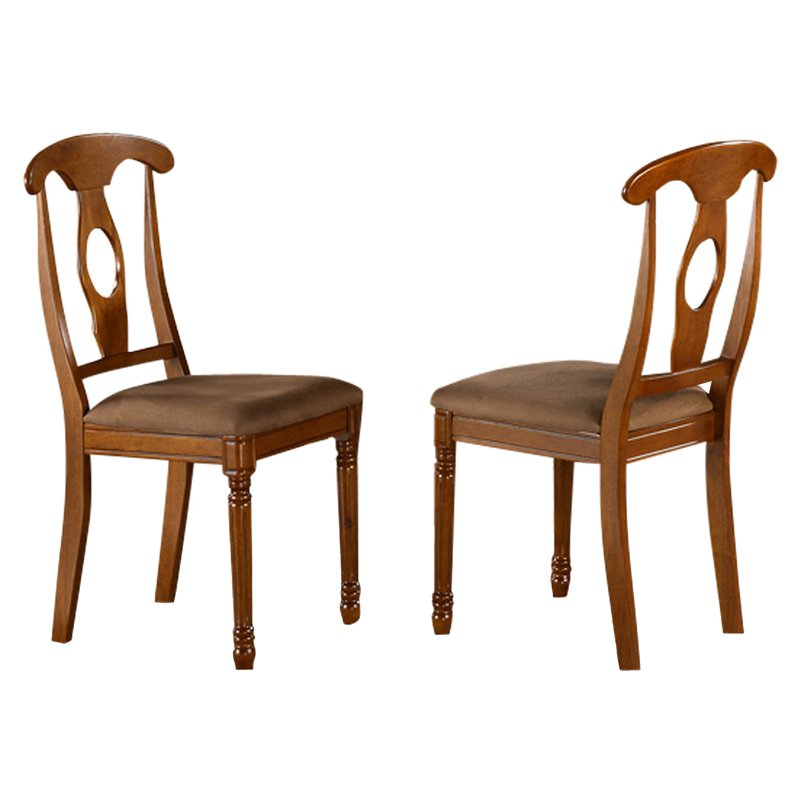 East West Furniture Kenley Napoleon Dining Chair with Microfiber Seat - Set of 2