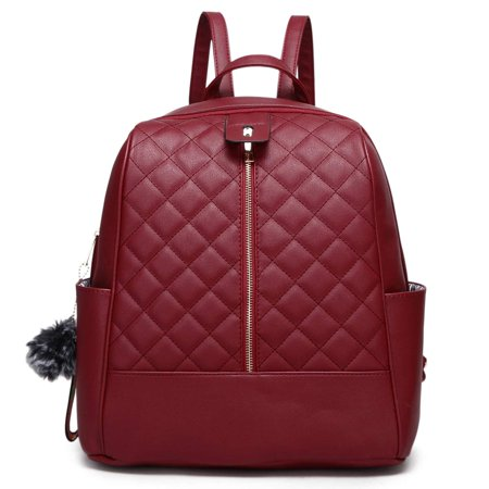 Faux Leather Backpack Purse for Women, POPPY Waterproof Purse Fashion Backpack New Version 2019, Wine