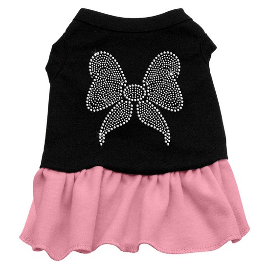 Rhinestone Bow Dresses Black with Pink Med (12)