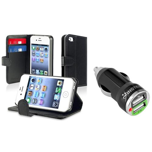 Insten Car Charger+Black Leather Pouch Case w/ Credit Card Wallet For iPhone 4 G 4S
