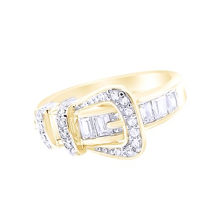 14k Gold Buckle Ring - White Cubic Zirconia Belt Buckle Fashion Ring In 14k Yellow Gold Over Sterling Silver