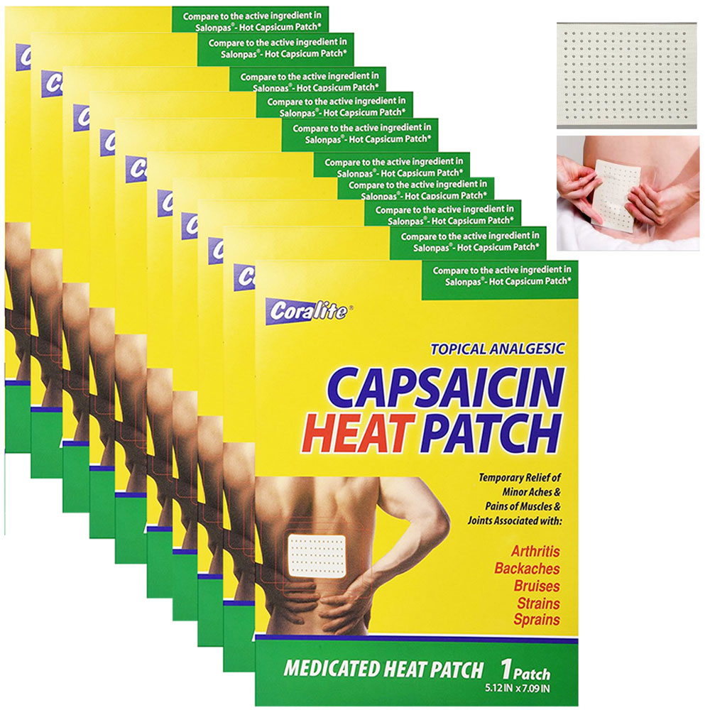 10 Pc Coralite Capsaicin Heat Patch Hot Pads Pain Relief Therapy Press Pack Wrap
