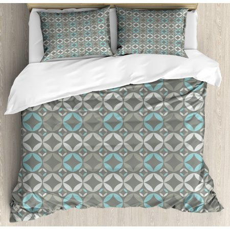 Grey and Blue Queen Size Duvet Cover Set, Retro Styled Abstract Overlapping Circles with Color Details, Decorative 3 Piece Bedding Set with 2 Pillow Shams, Grey Pale Blue Pale Grey, by