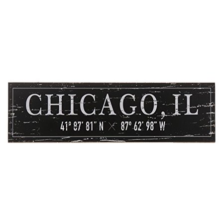 Barnyard Designs Chicago, IL City Sign Rustic Distressed Decorative Wood Wall Decor 17