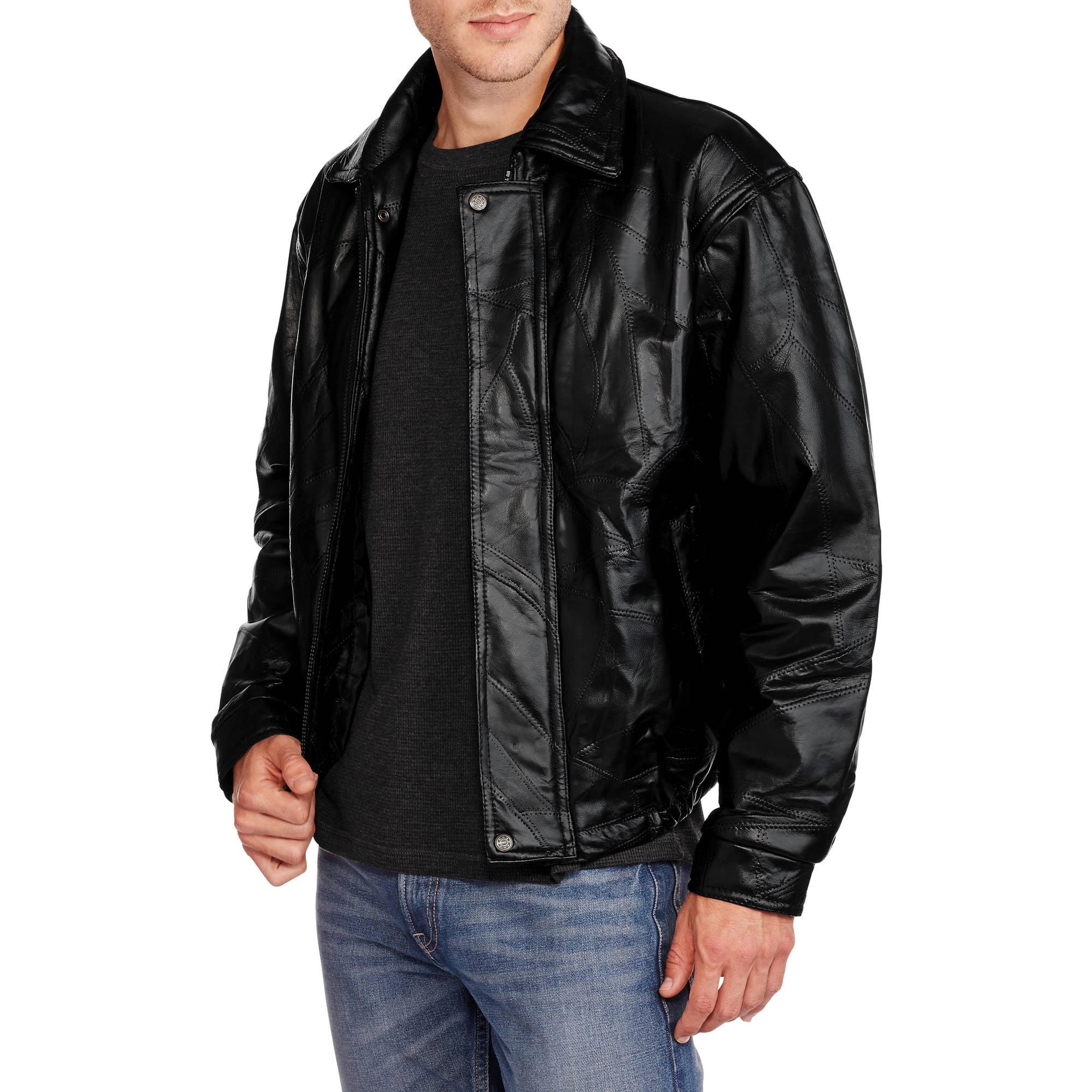 Big Men's Patchwork Genuine Leather Bomber Jacket, 2XL