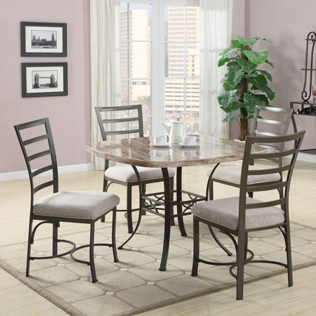 Acme Furniture Daisy 5 Piece Square Faux Marble Dining Table Set