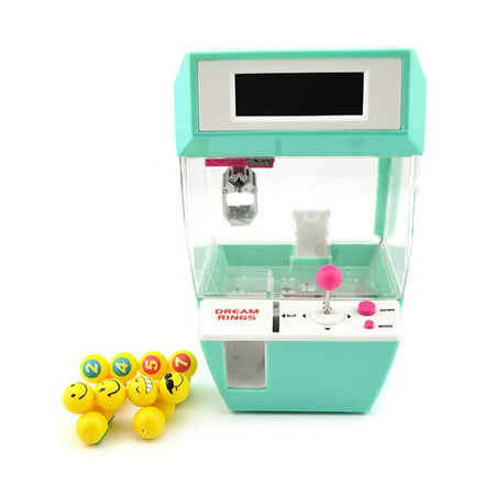 NEW Upgraded Coin Operated Candy Grabber Balls Catcher Board Game Fun Toys Mini Crane Claw Machine With Alarm Clock Function For Children(Green)
