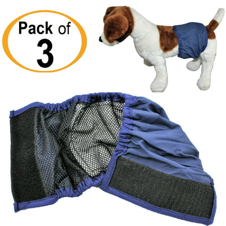 Large Breed Dog Costumes (PACK - 3pcs WASHABLE Dog MALE Diaper Belly Band Lined WITH ABSORBENT PAD Reusable Small Medium Large Breed sz XX-Small (waist: 6