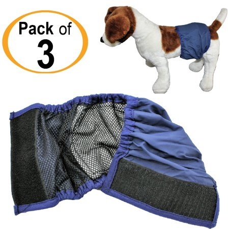 PACK - 3pcs WASHABLE Dog MALE Diaper Belly Band Lined WITH ABSORBENT PAD Reusable Small Medium Large Breed sz XX-Small (waist: 6