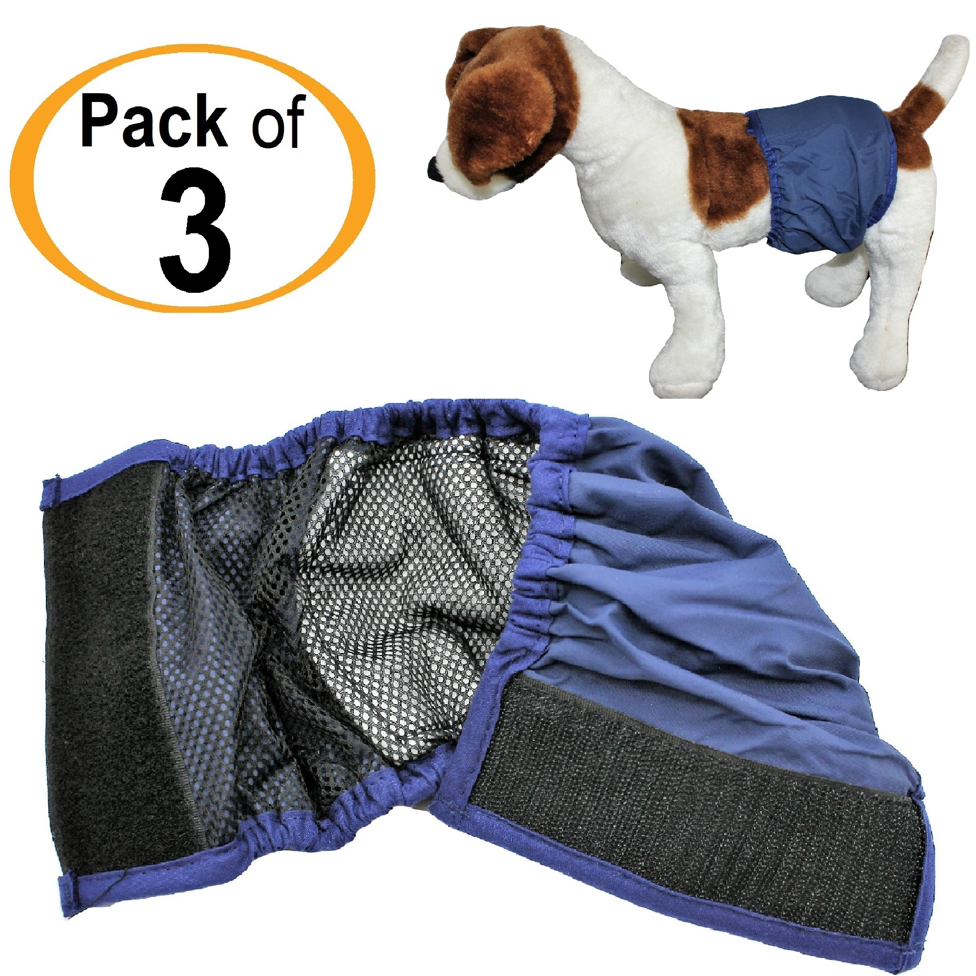 "PACK - 3pcs WASHABLE Dog MALE Diaper Belly Band Lined WITH ABSORBENT PAD Reusable Small Medium Large Breed sz XX-Small (waist: 6"" -  8"")"