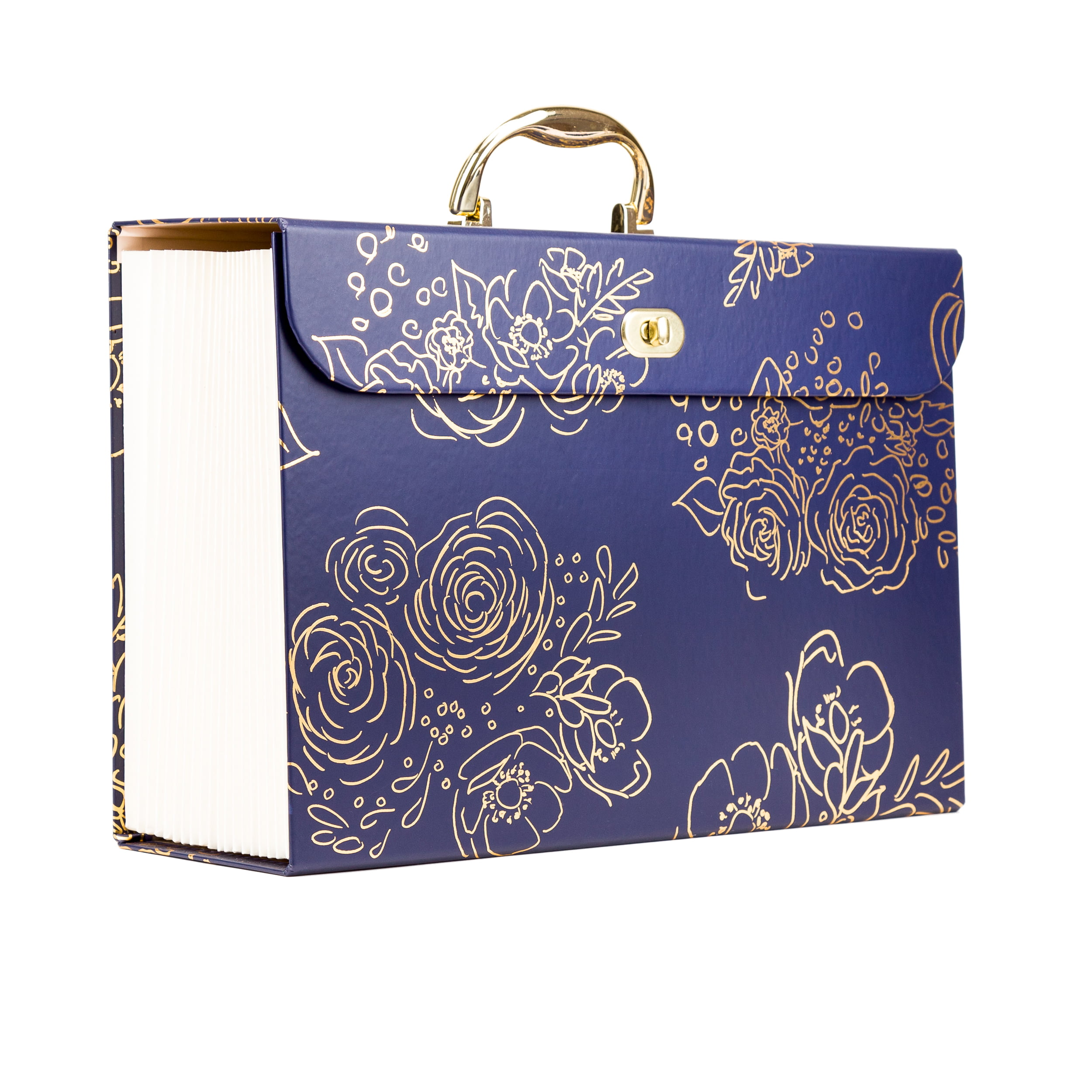 U Brands 19 Pocket Expandable File Folder, Gold Floral Print, Navy
