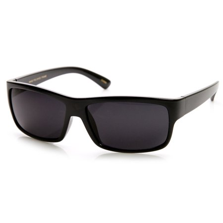 Beton - High Quality Action Sports Rectangular Lightweight Sunglasses (Shiny-Black / Smoke) - (Action Sunglasses)