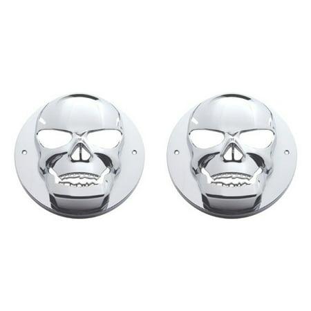 """Two 4"""" Round Chrome Bezels w Skulls for Truck, Trailer LED Lights"""