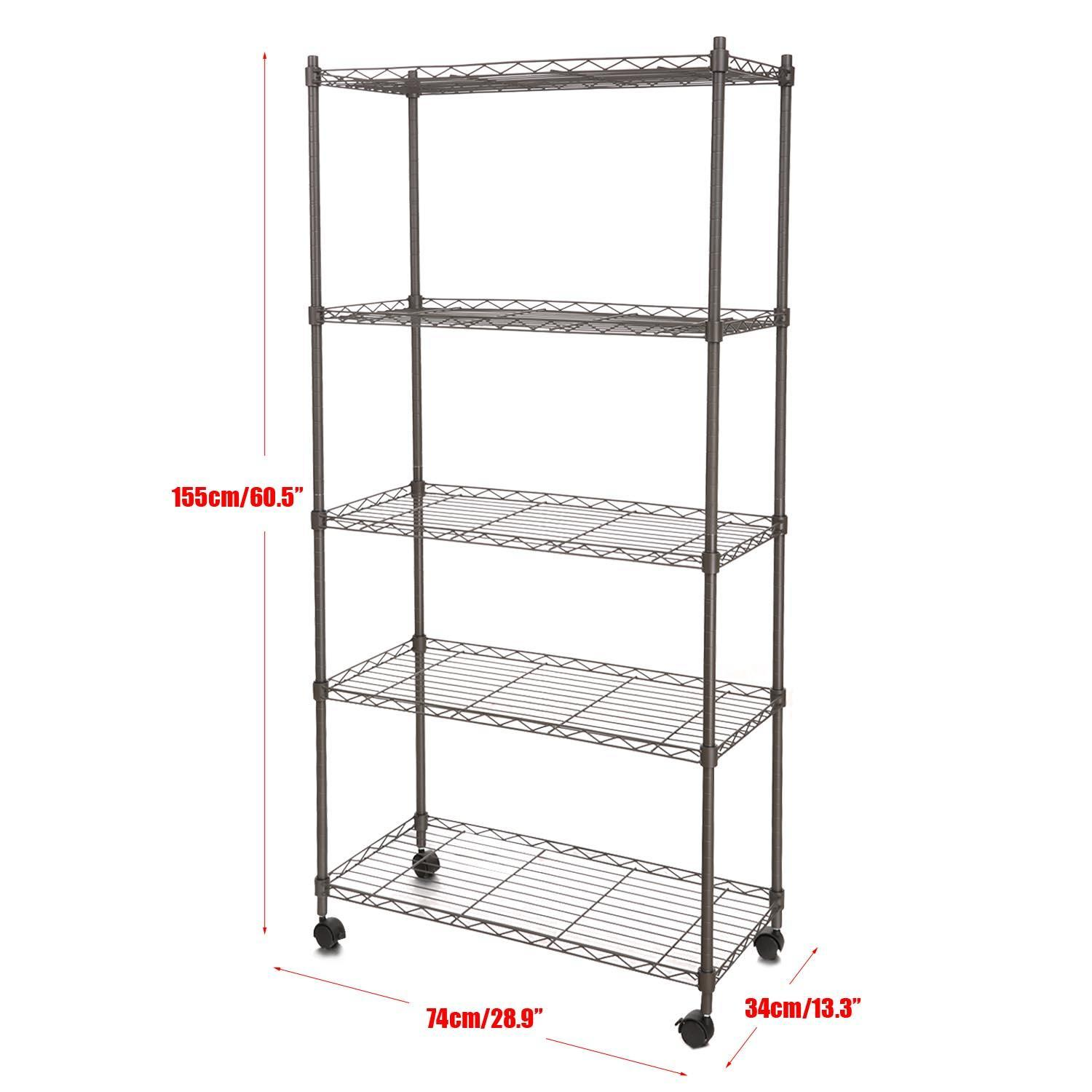 Adjustable Muscle Rack 5-Tier Wire Shelving with Wheels for Kitchen Bedroom Garage Muscle Rack WLT