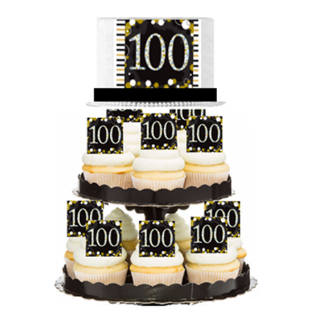 100th MyShinningStar  Birthday / Anniversary Celebration Do It Yourself Cupcake Tower - 100th Anniversary Plate