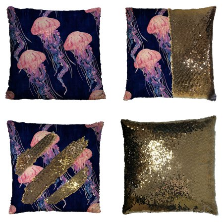 Beach Pink Stitch - GCKG Jelly Fish Pillowcase, Tropical Beach Magical Jellyfish Blue Pink Reversible Mermaid Sequin Pillow Case Home Decor Cushion Cover 16x16 inches