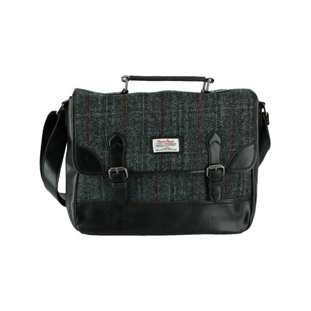 Size one size Men's Berneray Harris Tweed Tartan Briefcase, Black - Mans Harris Tweed