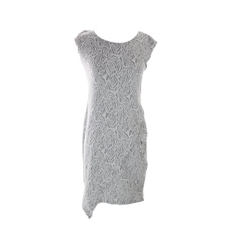 Kiind Of Grey Textured Short-Sleeve Lace Envelope Shift Dress S