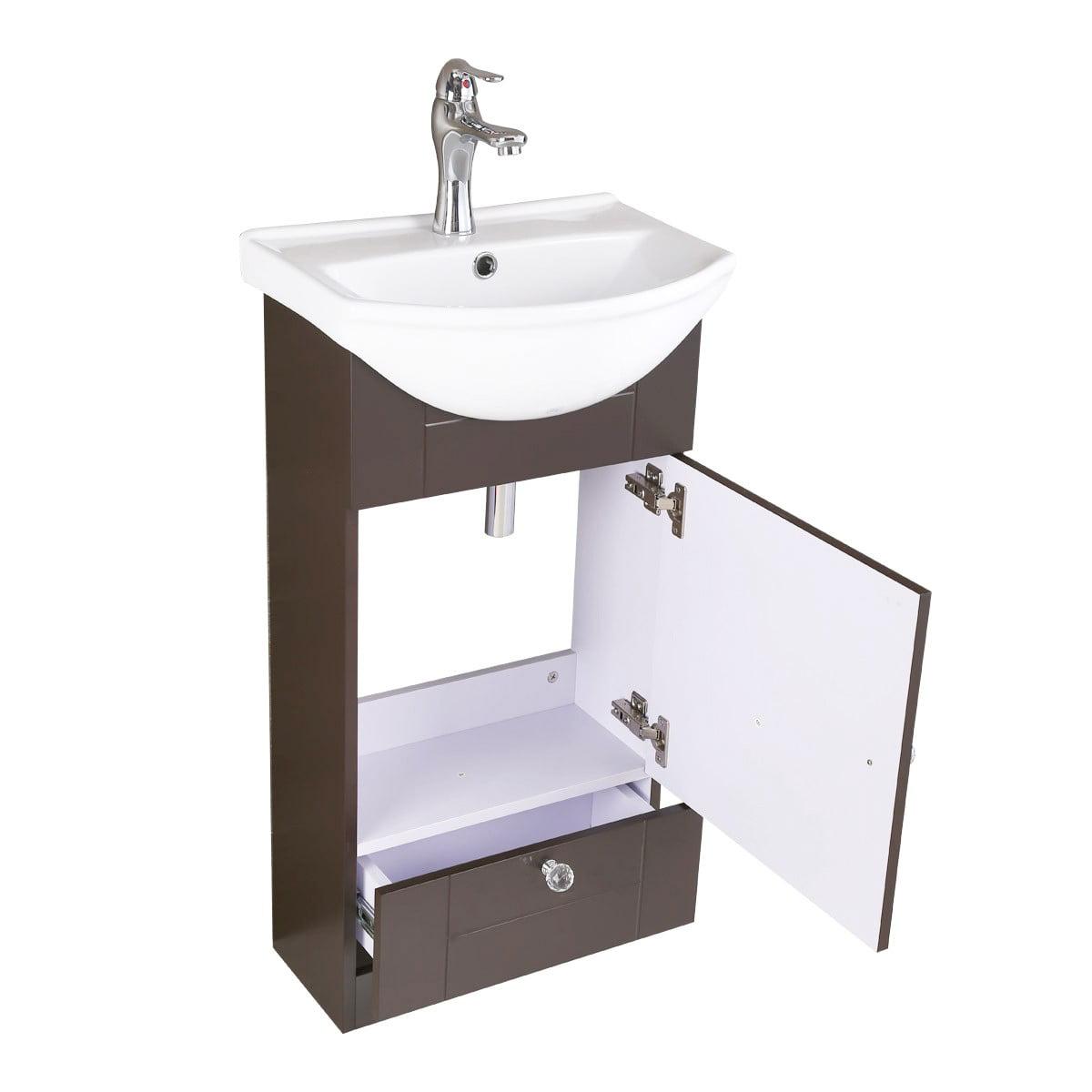Renovator S Supply Dark Brown Bathroom Vanity Cabinet With White Sink Walmart Com Walmart Com