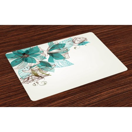 Turquoise Placemats Set of 4 Flowers Buds Leaf at the top Left Corner Festive Season Celebrating Theme, Washable Fabric Place Mats for Dining Room Kitchen Table Decor,Teal Pale Green, by Ambesonne (Left Leaf)