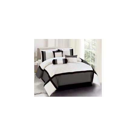 Legacy Decor 7 Pc Black, Grey and Beige Striped Comforter set With Diamond Stitch Design, King Size