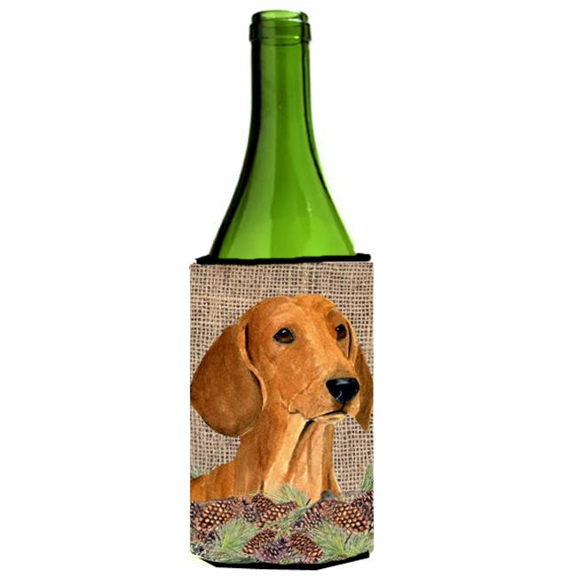Carolines Treasures SS4078LITERK Dachshund On Faux Burlap With Pine Cones Wine bottle sleeve Hugger - image 1 of 1