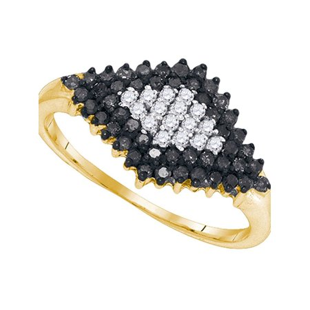 10kt Yellow Gold Womens Round Black Color Enhanced Diamond Cluster Ring 1/2 Cttw - image 1 of 1