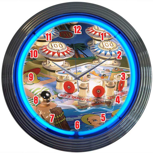 Neonetics Bar and Game Room 15'' Pinball Wall Clock