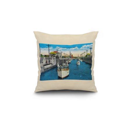 World famous Canal Locks Ballard Seattle 18x18 Spun Polyester Pillow W
