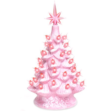 Best Choice Products 11in Pre-Lit Hand-Painted Ceramic Tabletop Artificial Christmas Tree Festive Holiday Decor w/ Lights, Star Topper -