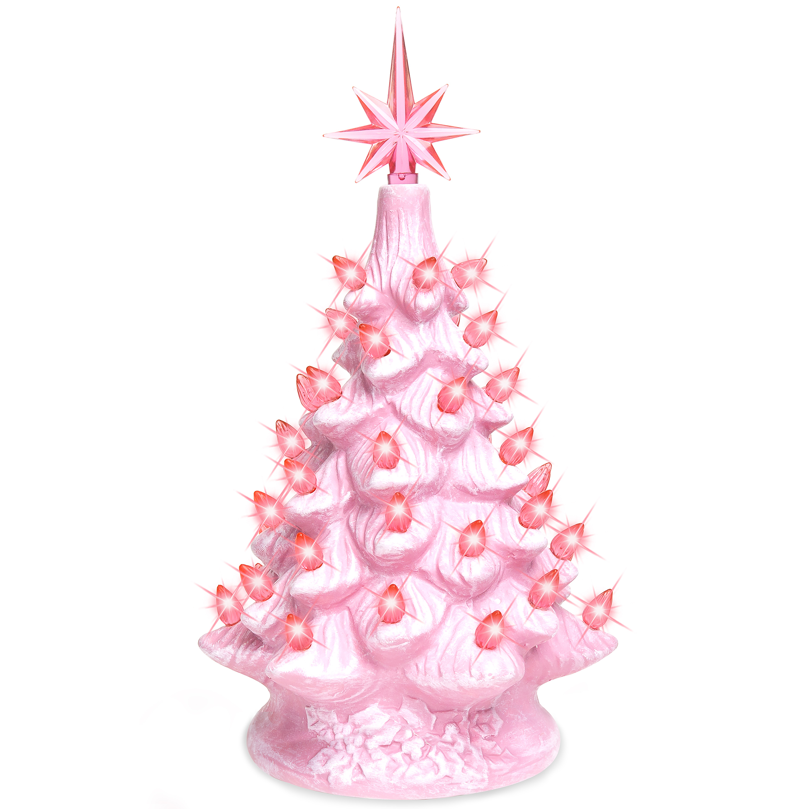 Exceptional Best Choice Products 11in Prelit Ceramic Tabletop Christmas Tree W/ Lights    Pink