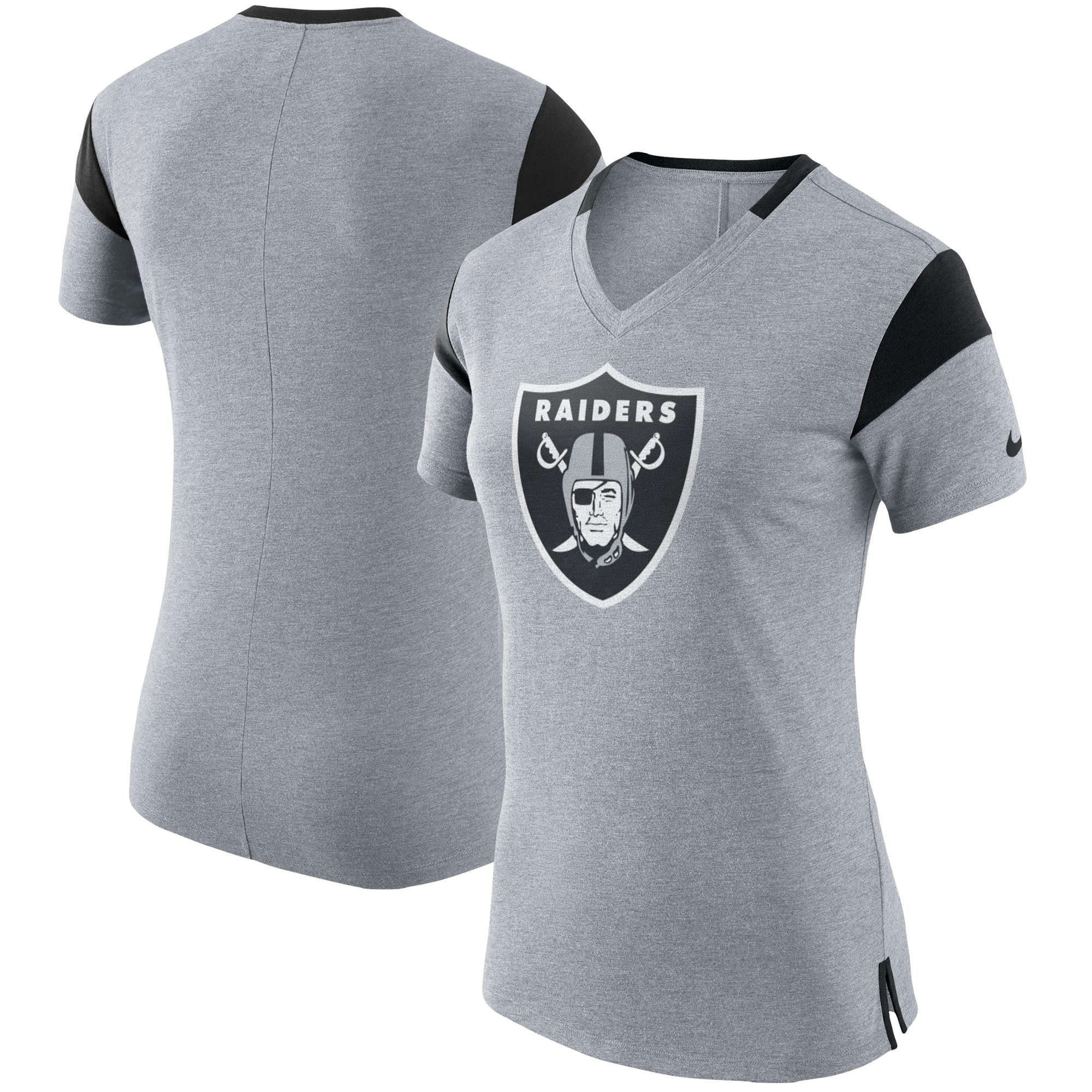 Oakland Raiders Nike Women's Fan V-Neck T-Shirt - Heathered Charcoal