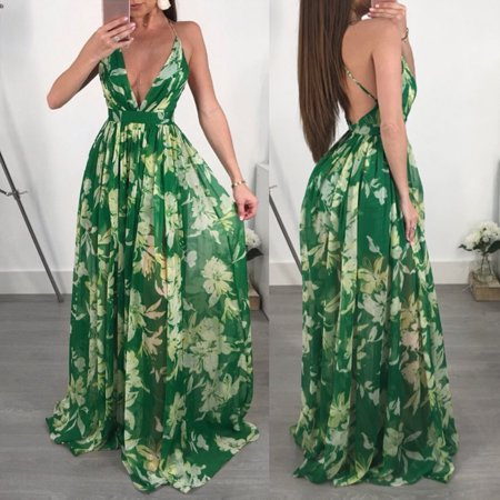 Women Ladies Sexy Green Evening Cocktail Party Casual Long Maxi Beach Dress Sundress S](Greek Dresses)