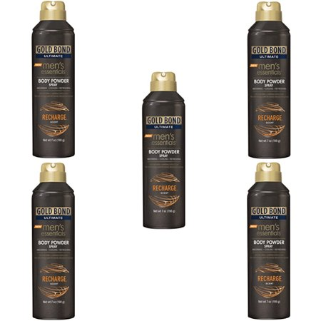 5 Pack Gold Bond Ultimate Mens Essentials Powder Spray Recharge Scent 7 oz each (Bond Ultimate Edition)