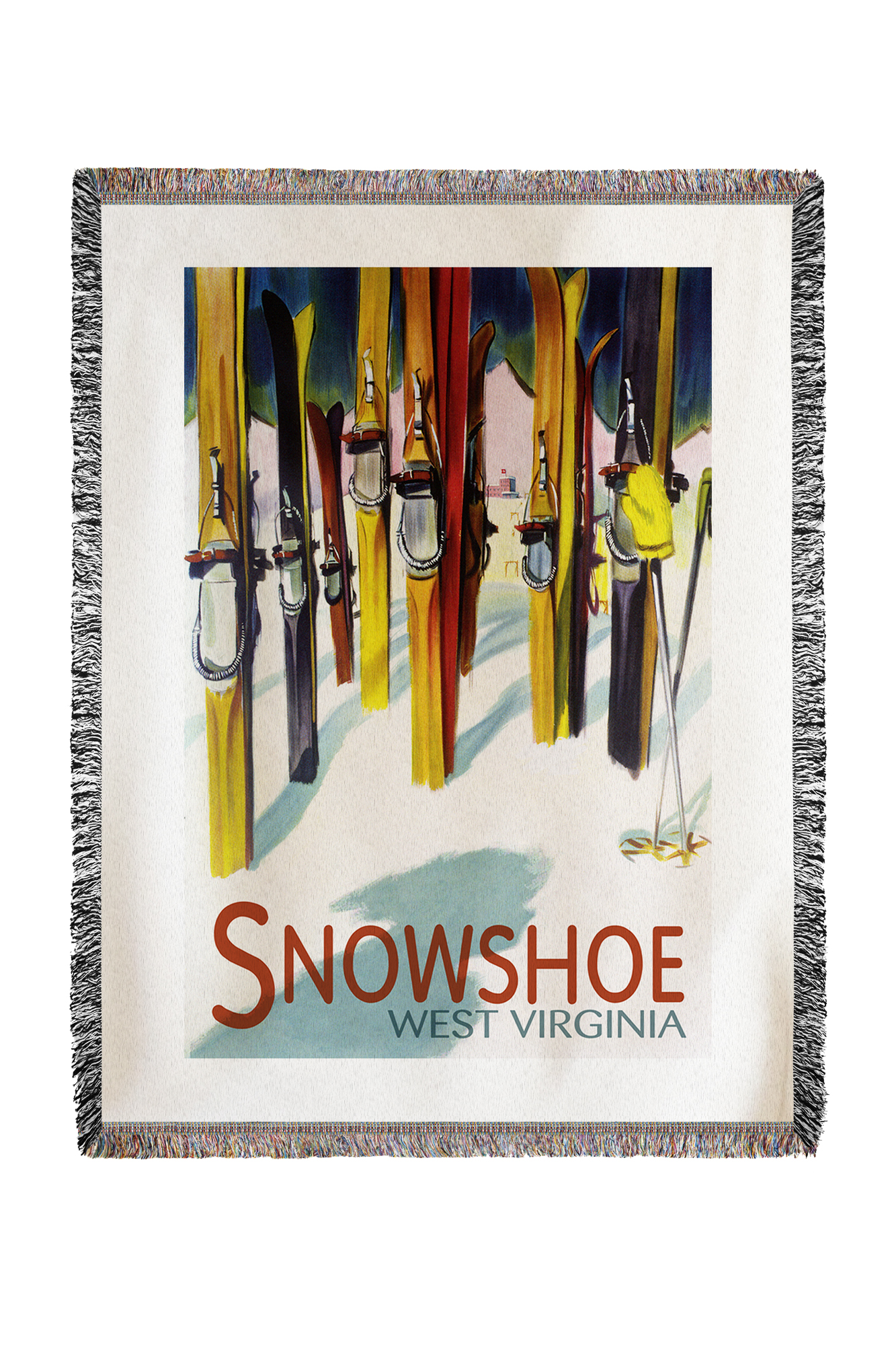 Snowshoe, West Virginia Colorful Skis Lantern Press Artwork (60x80 Woven Chenille Yarn Blanket) by Lantern Press