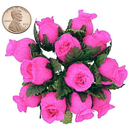 Hot Pink Roses - 144 Miniature Poly Rose Silk Favor Flower Pick Wedding Shower - Hot Pink