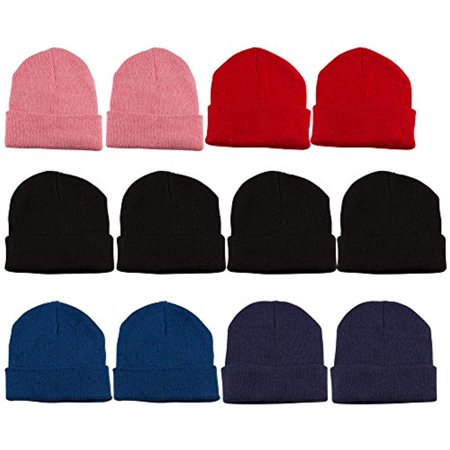 Yacht & Smith 12 Pack Kids Winter Beanie Hat Assorted Colors Bulk Pack Warm Acrylic Cap (Assorted B)](Yacht Caps)
