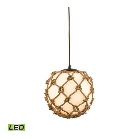 Pendants 1 Light With LED Oil Rubbed Bronze Finish Opal White Wrapped In Rope Medium Base 11 inch 9.5 Watts - World of Lamp