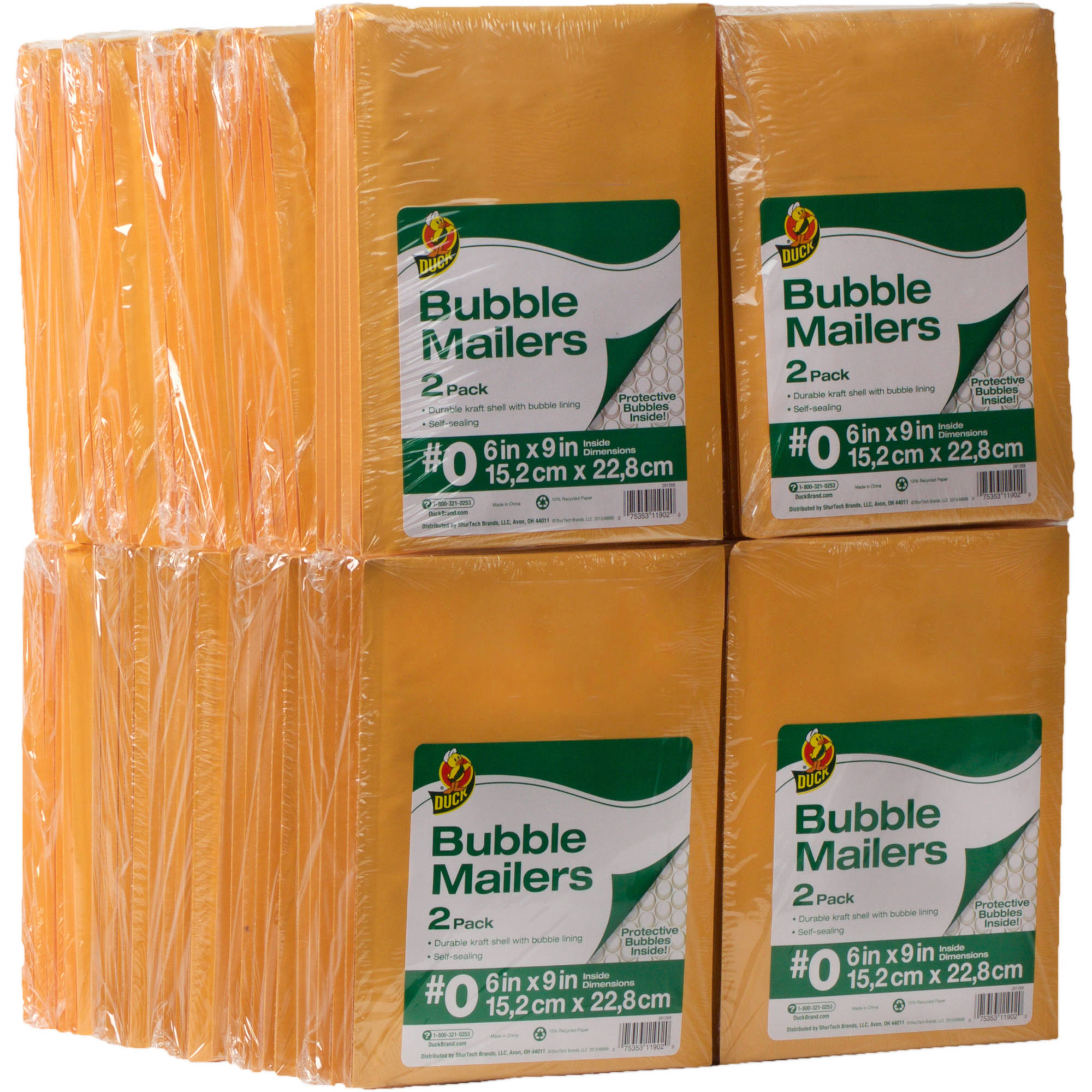 Duck Kraft Bubble Mailers, #0 (6 in. x 9 in.), Self-Sealing, 240-Count