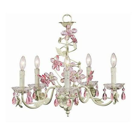 5 Arm Chandelier - Crystal Flower - Soft Green & Pink