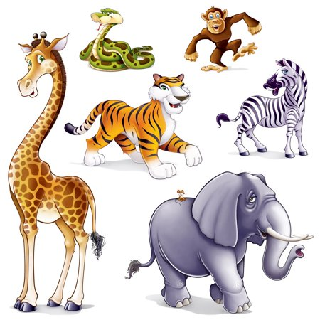 Club Pack of 72 Safari Insta-Theme Jubilant Jungle Animal Party Photo Props 63