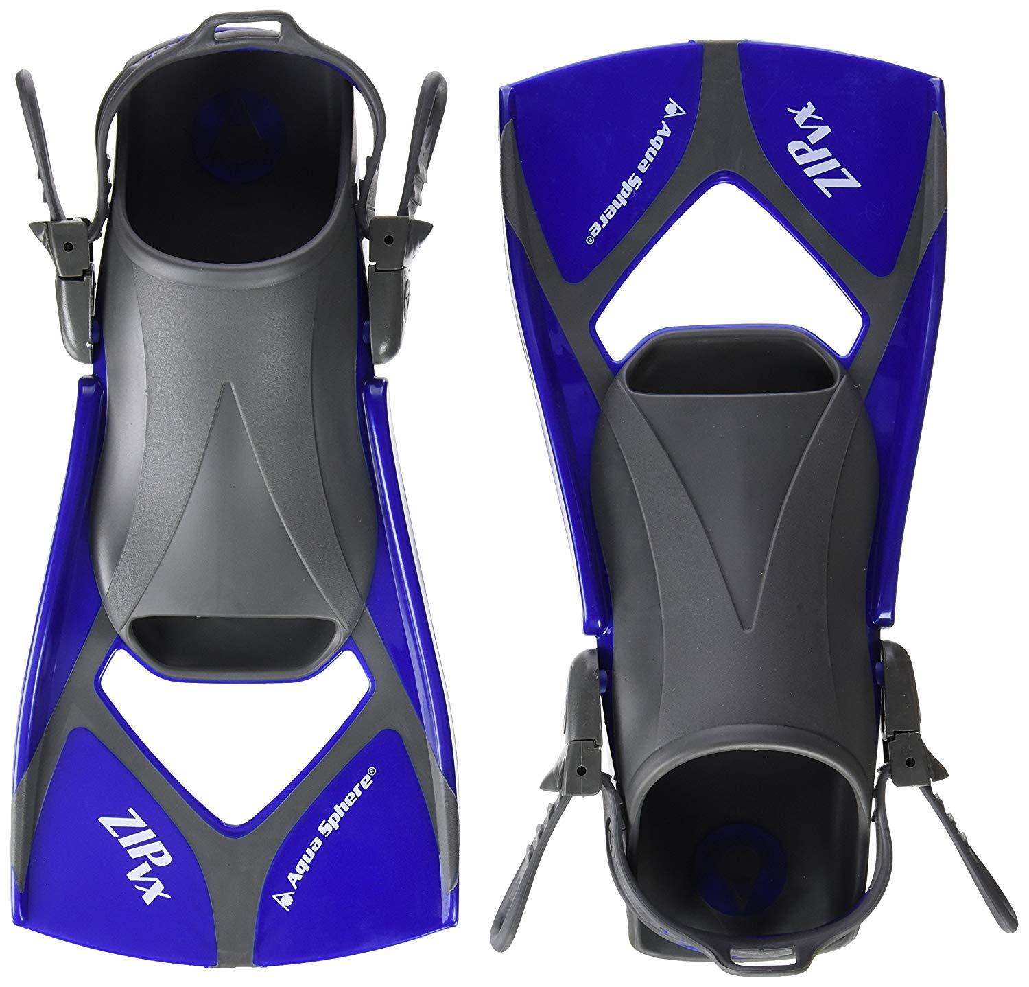 Zip VX Fitness Swim Fins, Blue/Grey, Small, Easy-to-adjust buckles for a custom fit By Aqua Sphere