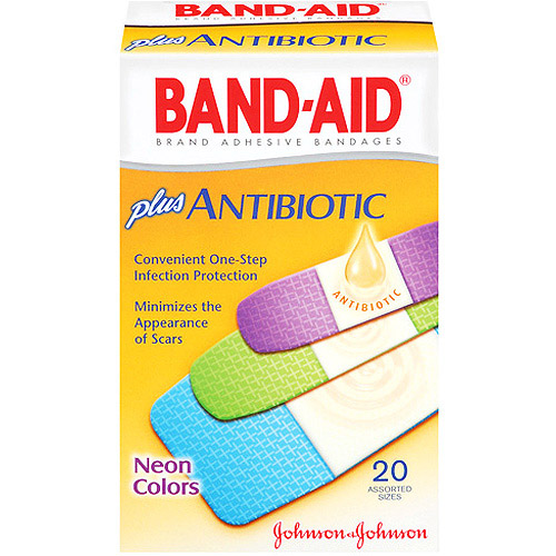 BAND-AID BRAND ADHESIVE BANDAGES Antibiotic Neon Colors Assorted 20 ct.