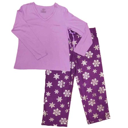 2256fa282cd5 Celestial Dreams - Womens Purple   Silver Metalic Snowflakes Pajamas  Sparkle Sleep Set - Walmart.com