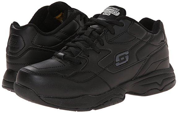 Skechers FELTON ALBIE Womens Black Slip Resistant Memory Foam Work Shoes (Black,5,Wide) by Skechers