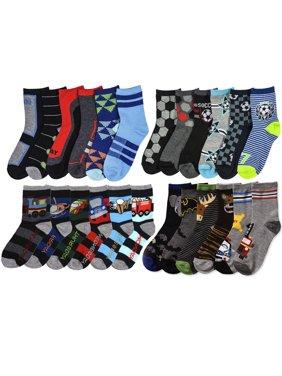 All Top Bargains 6 Pair Boys Crew Socks Kids Shoe Size 4-6 Years Cartoon Patterned Design School