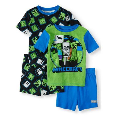 Boys' Minecraft 4 Piece Pajama Sleep Set (Little Boy & Big Boy)