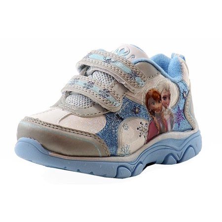 Disney Frozen Toddler Girls Silver/Blue Fashion Light Up Sneakers Shoes